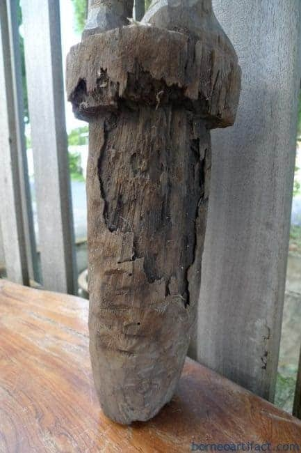 MASSIVEDAYAKFIGUREmmHARDWOODSTATUEPoliceDayakTribalSculptureBorneo
