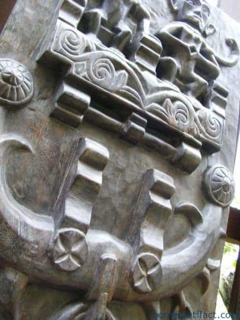 NIAS TRIBESMAN WINDOW PANEL PAIR Home Cafe & Hotel Interior CARVED Plank Slat