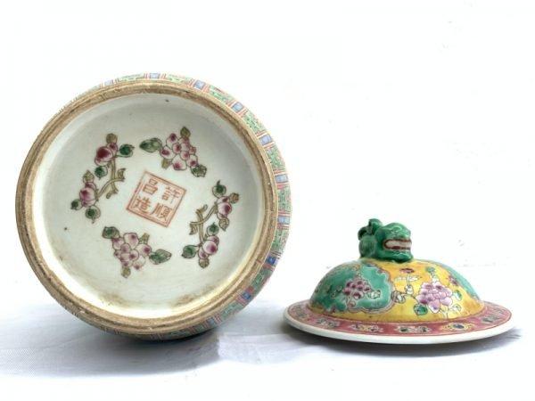 GREEN 330mm COVERED JAR peranakan kam cheng Phoenix Porcelain Pot Vase Pottery #4