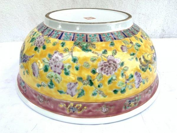 SUPERSIZE YELLOW BASIN 16.5″ HUGE Old Baba Nyonya peranakan bowl RARE SIZE DISH