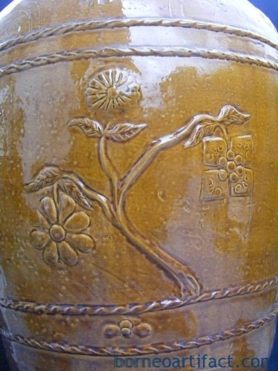CRISPY GOLDEN BROWN Massive Size Antique JAR VASE Late Ching Period Tajau Pot