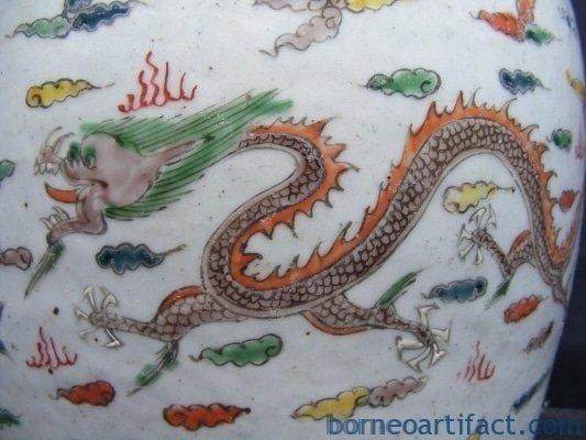 CYLINCRICALCoveredJarWHITEPhoenix&#;DragonPotJarBoxLATEQING/CHING