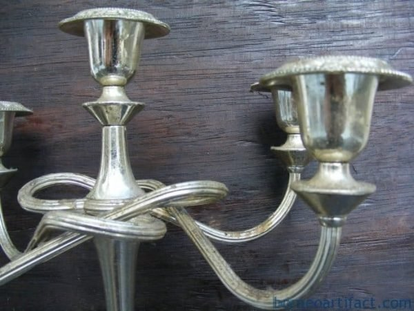 ANTIQUE SILVER CANDLE HOLDERS Candlebra Stand Holder Old School Castle Style