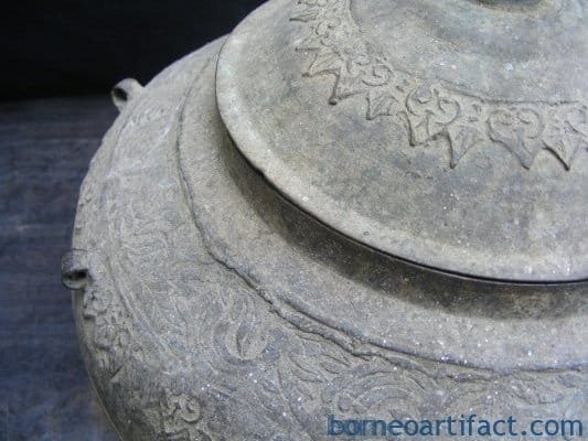 ANTIQUE SULANG CONTAINER Brass Box Jar Bowl BRASS POT Dayak Metalware Heirloom