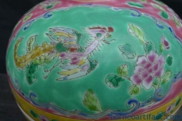 BLUE INTERIOR PINK EXTERIOR Chupu Nyonya Covered Jar Kamcheng Kam cheng Pot