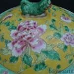 XXXXL GIANT YELLOW KAMCHENG NYONYA Baba Domed Covered Jar Pot Pottery Porcelain