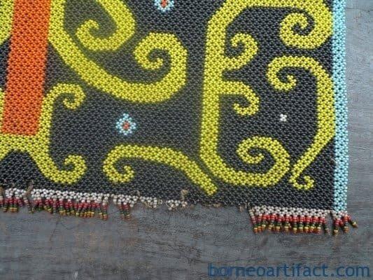 MICRO BEADS DAYAK PANEL Old Beaded Artifact Art Artist Painting Craft Borneo