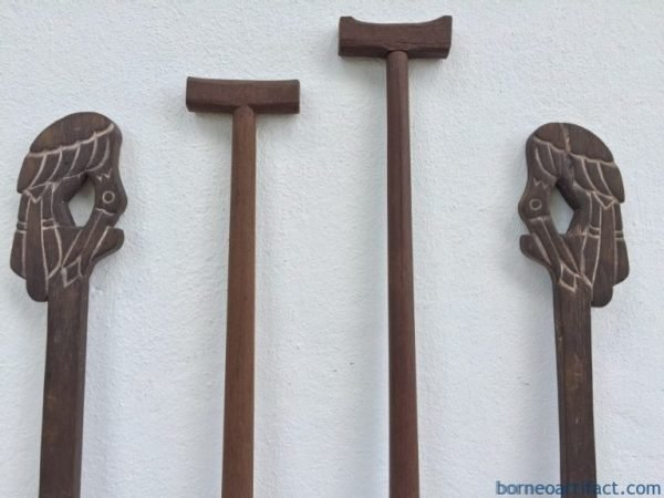 FOUR FANTASTIC Tribal PADDLE Regatta Kayak Water Sport Carved Wood Sculpture