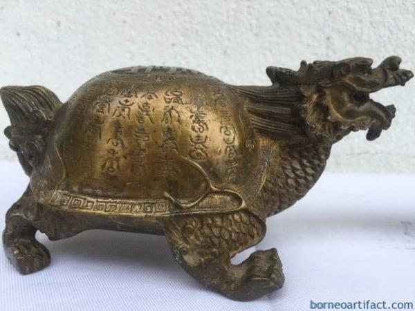 ChineseMythologymmDRAGONTURTLE(OnePair)BrassStatueSculptureFengShui