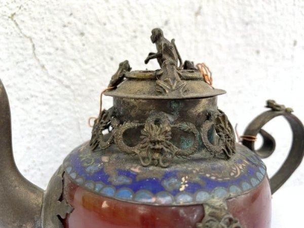 ONE PAIR Chinese Teapot Gem Jade Feng Shui Dragon Tea Jar Kitchen Ware