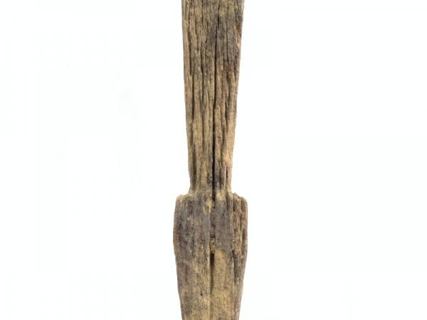 WEATHERED GUARDIAN STATUE Ancestral Eroded Outdoor Pole Figure Hardwood #13