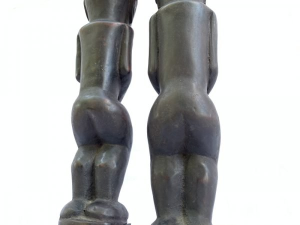 MALE and FEMALE 390mm BATAK WARRIOR STATUE Ancestral Facial Sculpture Indonesia Couple Gift