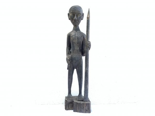 MASSIVE 840mm DAYAK WARRIOR and SPEAR Antique Sculpture Artifact Borneo Headhunter