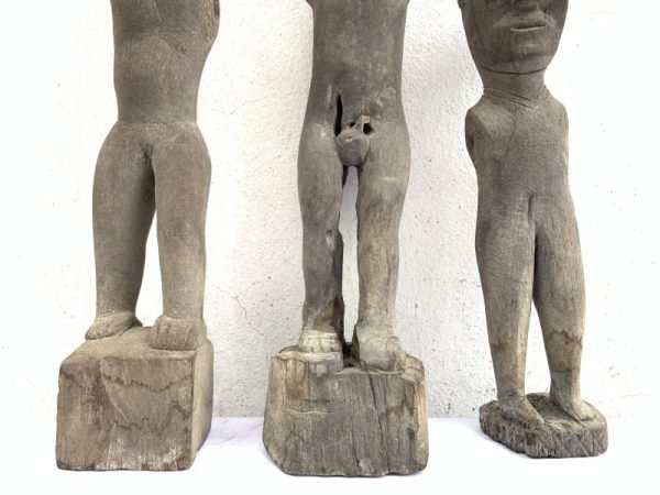 THREE ERODED 410-580mm statue tribal Patung Polisi Police Figure Borneo AUTHENTIC