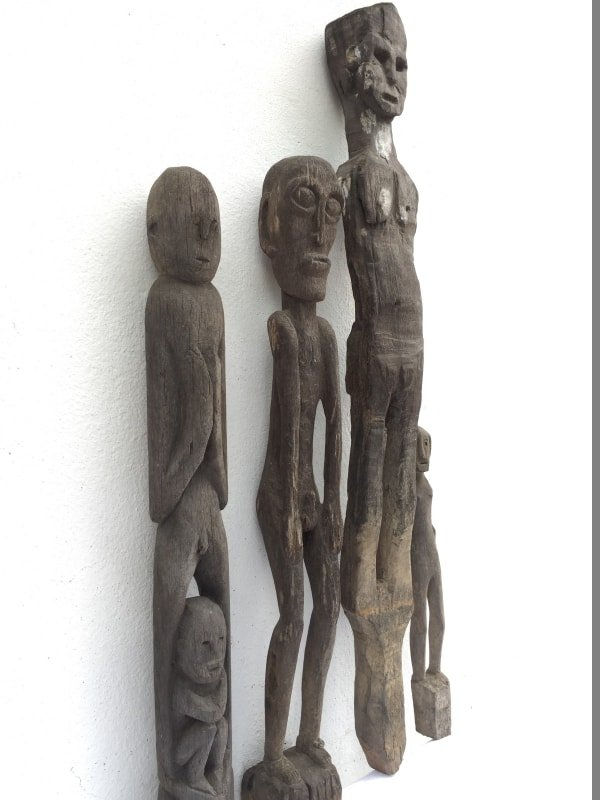 FOUR ERODED 400-880mm STATUE Patung Kebahan Dayak Primitive Art Figure AUTHENTIC
