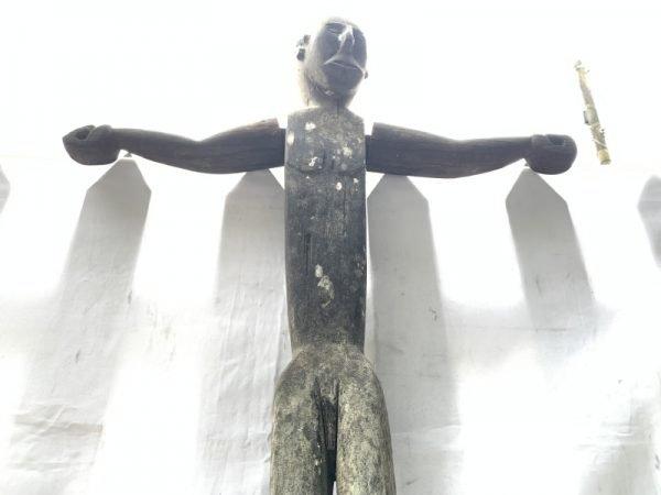 HUMAN SIZE 1660mm GUARDIAN STATUE Eroded Outdoor deco Dayak Figure Sculpture RARE