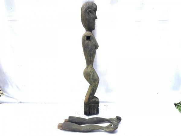DAYAK BAHAU 830mm FEMALE BREAST FIGURE Antique Statue garden deco