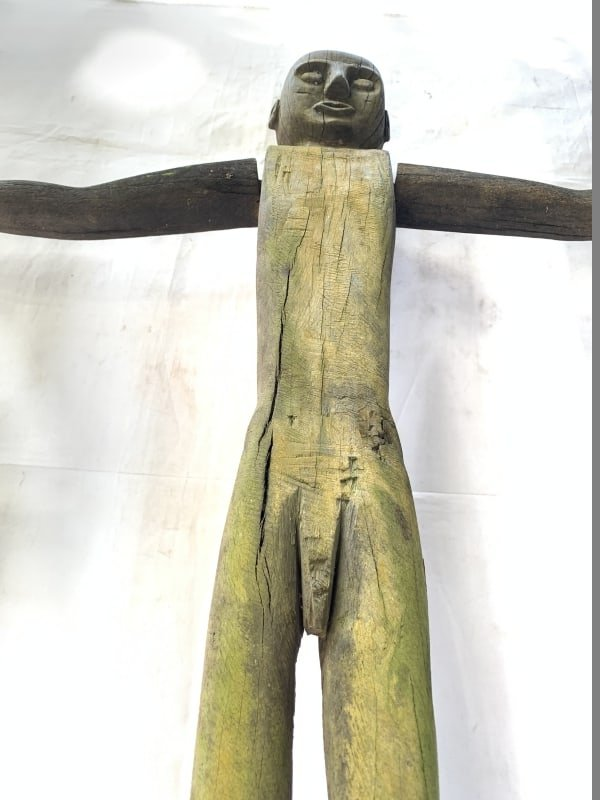 MALE PATUNG POLISI 1100mm XXXL STATUE Police Dayak Tribal Figure Wood Sculpture