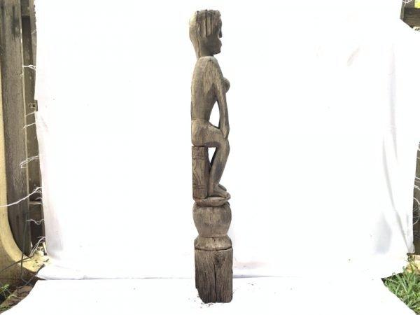 FEMALE FERTILITY GUARDIAN 1140mm POLE STATUE Aged Asian Sculpture Figure Borneo
