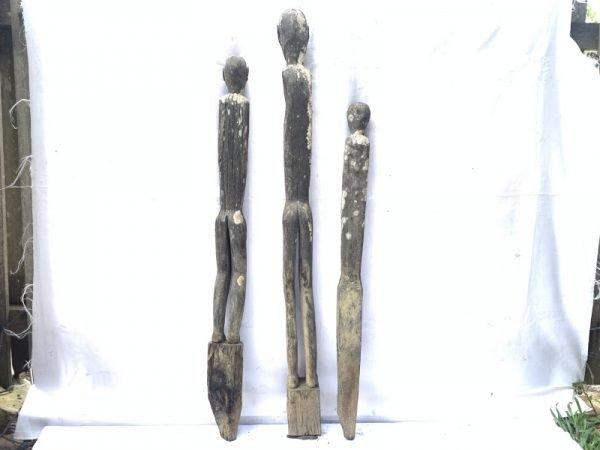 THREE VILLAGE GUARDIAN 970-1210mm SPIRITUAL SCULPTURE Dayak Figure Kalimantan
