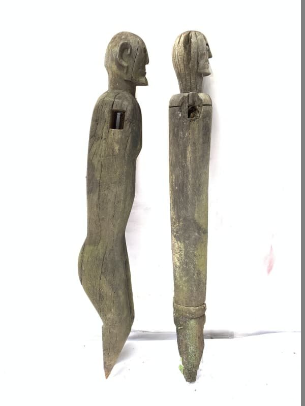 MALE FEMALE GUARDIAN 610-620mm STATUE Dayak Sculpture Antique Figure IRONWOOD