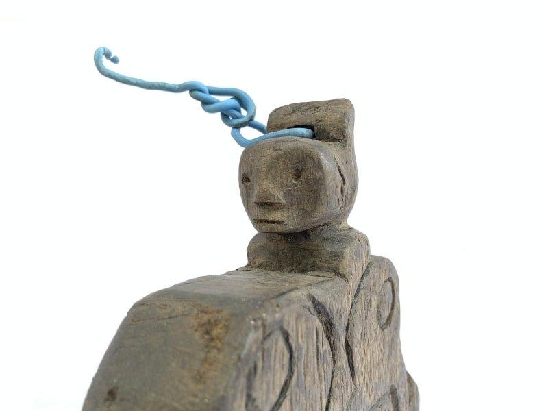 SHAMAN BOOK KEEPER / Tribal Wall Panel Anthropomorphic Figure Statue Painting