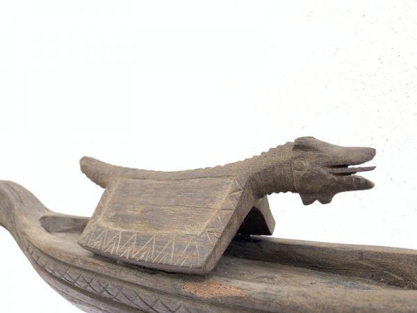 SERPENT Miniature BOAT 20.5″ OLD TRIBAL VESSEL Statue Sculpture Figure Tribal Asia Asian