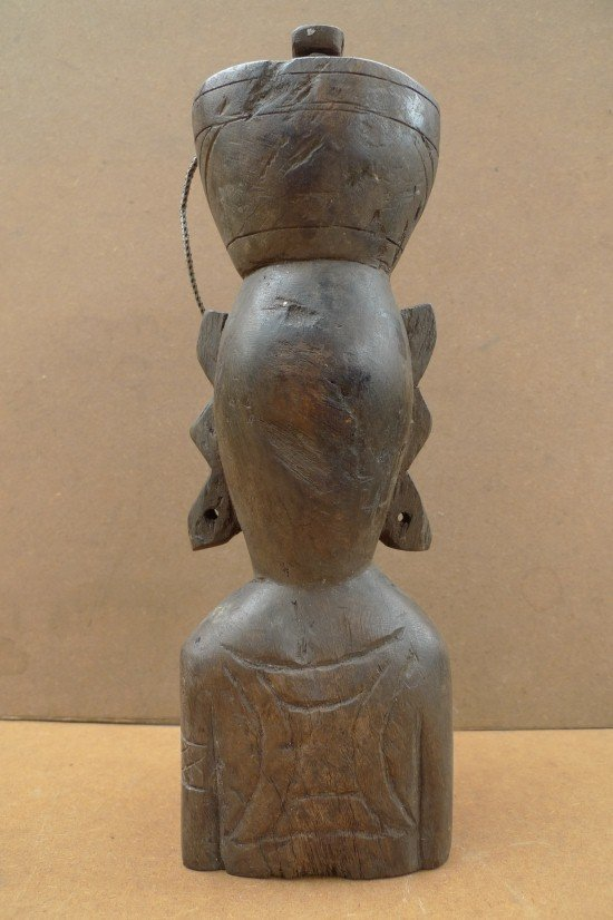 DAYAK BAHAU & JAR 10.6 Authentic Aged Statue Sculpture Primitive Figure Borneo