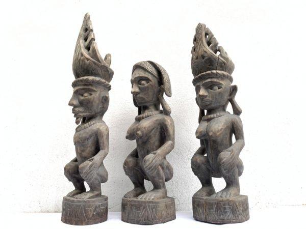 THREE NAKED Nias WARRIOR Panglima Statue Sculpture Image Icon Figure Sexy Xmas