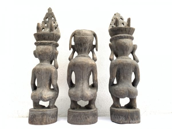 THREE NAKED Nias WARRIOR Panglima Statue Sculpture Image Icon Figure Sexy Xmas