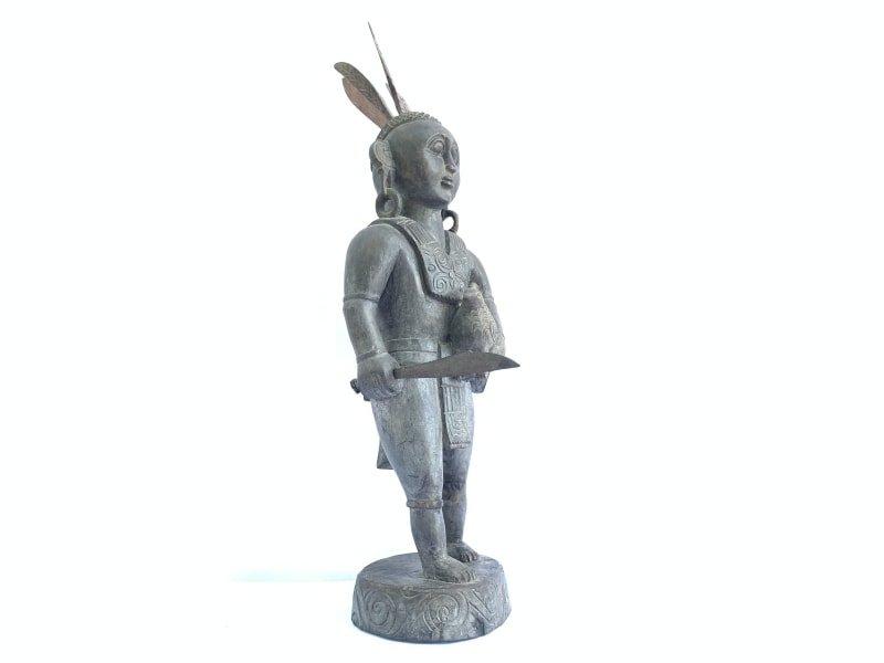WARRIOR IMAGES Antique Dayak Statue Sculpture Icon Figure Home Bar Office Borneo