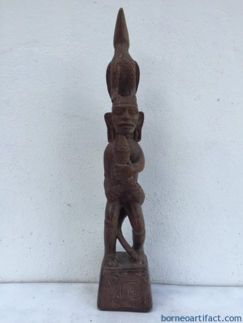 WARRIOR & NATURE IMAGE Old Dayak Statue Sculpture Figure Home Bar Snake Bird