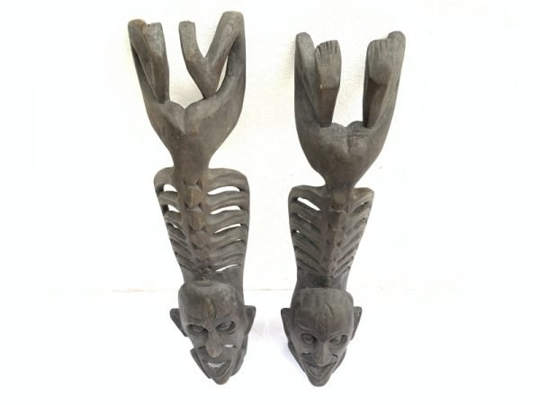 TWO LETI STATUE Wooden Sculpture Figure Icon Image Skull Skeleton Figurine Interior Home