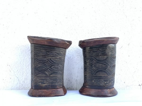 CATTLE HORN One Pair 120mm TORAJA JEWELLERY BOX CONTAINER Ancestral Figure Statue