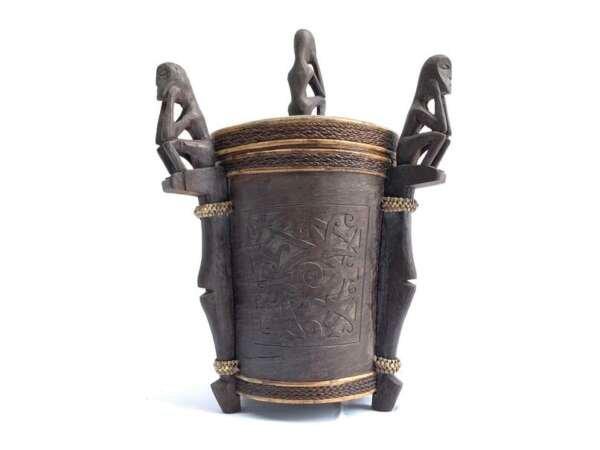 3.) ONE PAIR DAYAK CHAMBER 310mm LUPONG DAYAK Medicine Box Statue Tree Bark