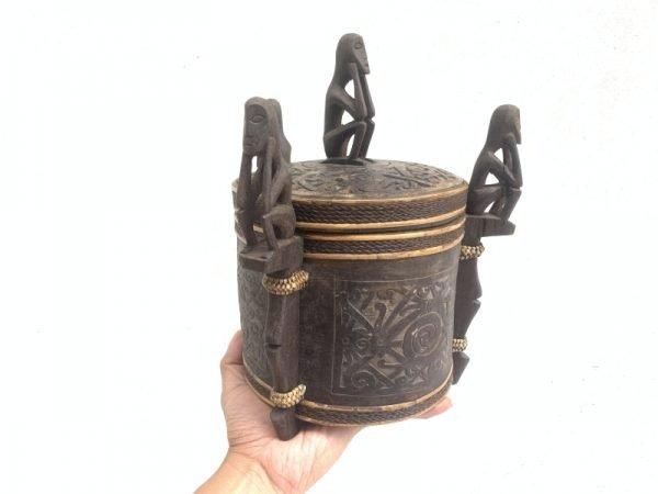 4.) DAYAK CHAMBER 280mm LUPONG DAYAK Medicine Box Statue Asia Artifact indonesia