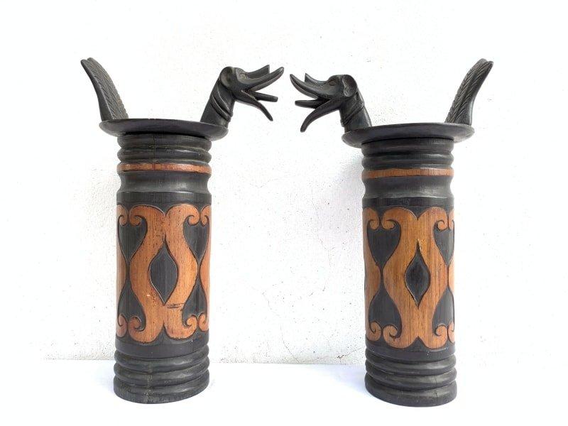 ONEPAIRNIASBAMBOOBOTTLEmmContainerCarrierJewelBoxSculptureArtifact