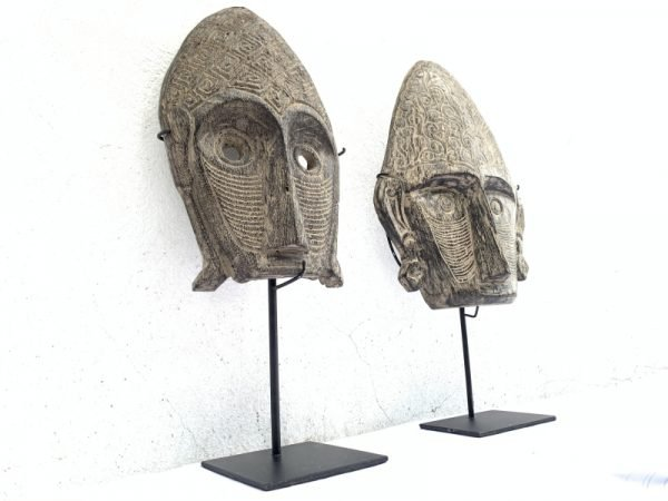 TWO GORGEOUS 18.9″ On Stand MASK Sculpture Figure Statue Asia Wall Art Painting
