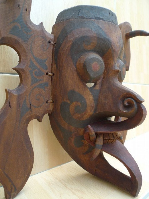 #4 DAYAK GHOST HUDOG MASK Office Home Bar Pub Wall Deco Craft TOPENG DYAK Borneo Tribal Mask