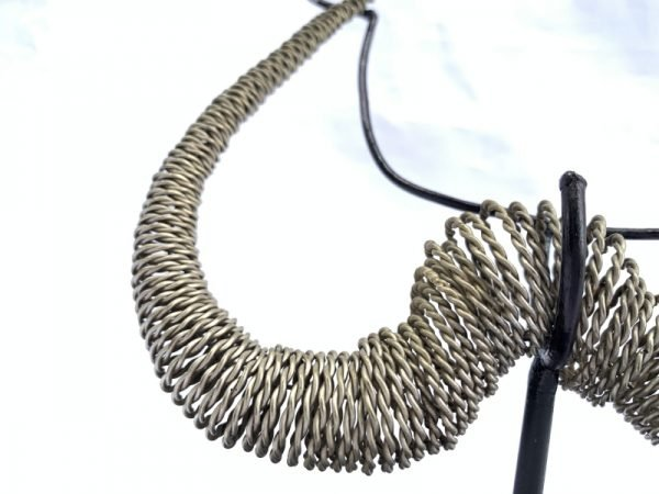 SILVER BRASS WIRE KALABUBU Necklace 200x180mm Body Neck Jewelry Jewel FREE STAND