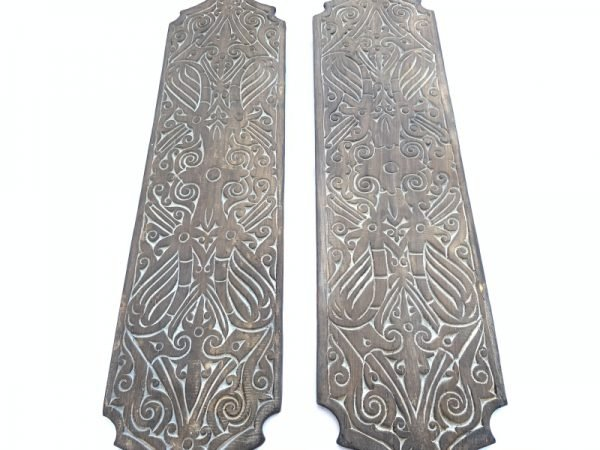 TWO TRIBAL carved shield (Height: 310mm)  Native Head hunter Tribe Dayak Borneo ARMOR ART