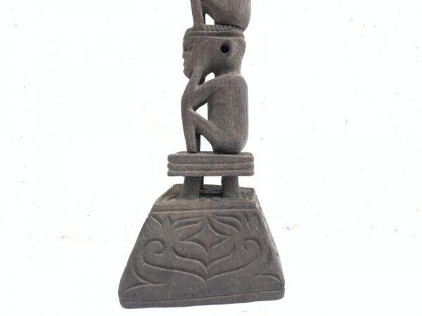 THREE MAN RITUAL POLE Dayak Bahau Guardian Figure Sculpture Artifact Antique Effigy Borneo