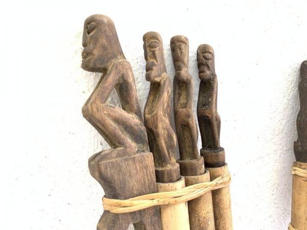 THREE IN ONE TunTun Ritual Mini Totem Pole Stick Hunter Headhunter Dayak Statue asian ornament