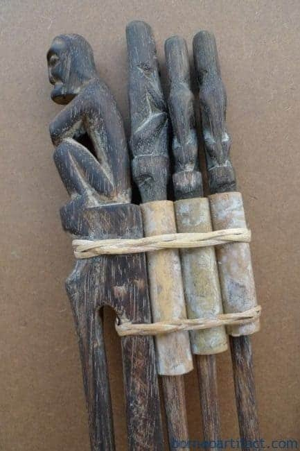 THREE IN ONE TunTun Ritual Pole Stick Hunter Headhunter Dayak Dyak Statue Borneo