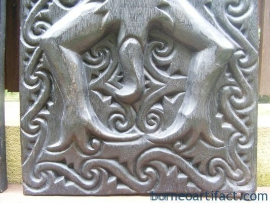 LAND DAYAK WINDOW PANEL PAIR Kalimantan Borneo Mulu CARVED Plank Slat Strip