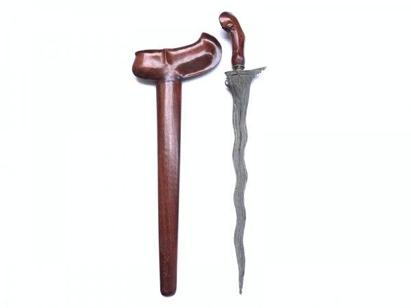 Silat Weapon: WHITE BLADE KRIS SAWO WOOD Weapon Knife Blade Dagger Sword Kriss Keris