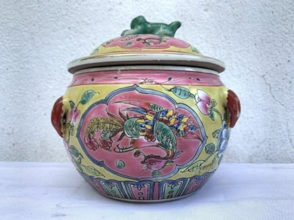 SMALLPAIRmmKAMCHENGPROSPERITYPHOENIXCoveredJarPorcelainChinesePot