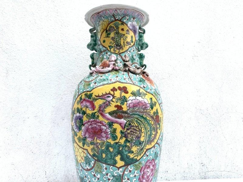 SELLING CHEAP NYONYA Vase Jar Phoenix & Peonies Flower Pot Pottery Feng Shui