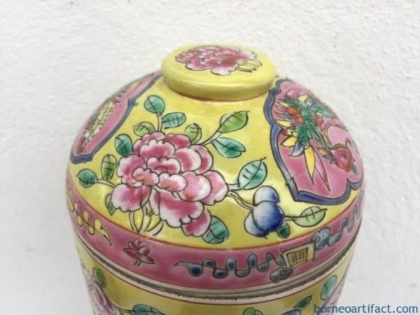 GINSENG SOUP COVERED BOWL Peonies & Phoenix Porcelain Box Nyonya Baba Kitchen