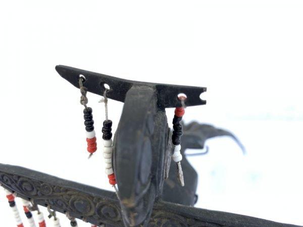 DAYAK CROWN 270mm BIRD STATUE Dayak Women Headdress Old Jewelry Sculpture